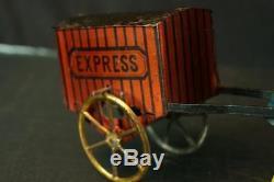 1900's Lehmann German Tin String Drive Express Porter Mint Original Vintage Toy