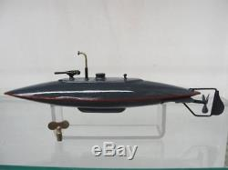1900s VINTAGE IVES DIVING BATTLE SUBMARINE WIND UP TOY WITH ORIGINAL BOX GERMAN
