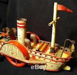 1902 Orobr Antique Paddle Wheel Boat Tin Toy #120 RARE 100% Origional WORKS