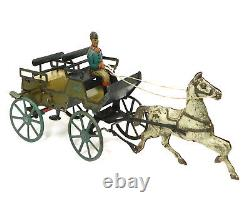1910 G&k Greppert & Kelch Horse And Carriage Tin Litho Wind Up Toy Germany