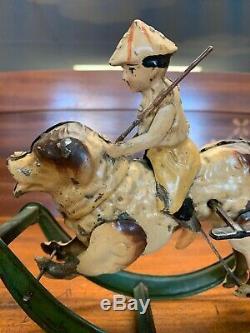 1915 German Hand-Painted Fisherman Boy on Rocking Dog GAMA Gunthermann Toy