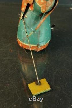 1920's Guntherman German Tin Wind Up Busy Lizzie Sweeping Lady Vintage Toy