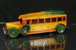 1920's Louis Marx Royal Bus Line Tin Wind Up Clockwork Vintage Vehical Works