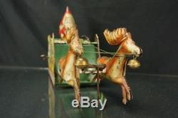 1920's Strauss Santee On Sleigh Tin Wind Up Christmas Holiday Toy Vintage Santa