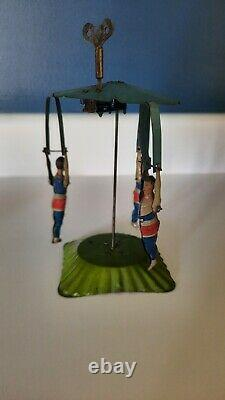 1920's Tin Carousel Trapeze Artist Circus Wind up Made in Germany 7