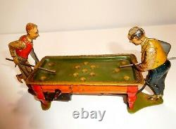 1920s GELY Tin wind-up German pool toy Very rare two player billiard No Reserve