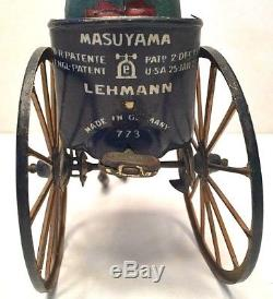 1920s Lehmann Masuyama Rickshaw Vintage Tin Wind up Toy Germany