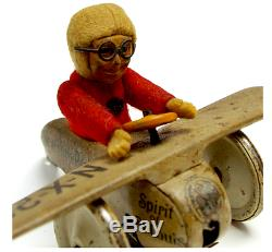 1920s Vintage Wind-Up Schuco Charles Lindberg Tin Toy Working Complete BR FS EMS
