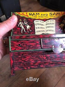 1921 Ham & Sam The Minstrel Team Tin Band Toy Strauss Black Americana Wind Up