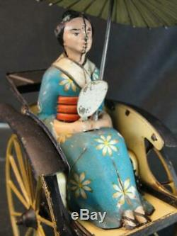 1927 Lehmann German Tin Wind Up Litho Masuyama Japanese Lady In Coolie Cart Toy