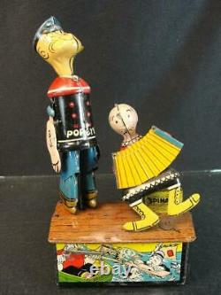 1930'S MARX POPEYE & OLIVE OYL JIGGER TIN WIND UP LITHO CHARACTER TOY With BOX