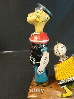 1930'S MARX POPEYE & OLIVE OYL JIGGER TIN WIND UP LITHO CHARACTER TOY With BOX