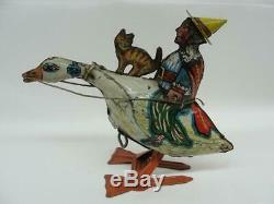 1930'S MARX TIN WIND UP OLD MOTHER GOOSE With KITTEN FAIRY TALE LITHO ORIGINAL