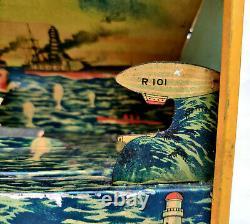 1930 Vintage TM Trademark No. 684 R101 Air Ship Battle Litho Windup Tin Toy Japan