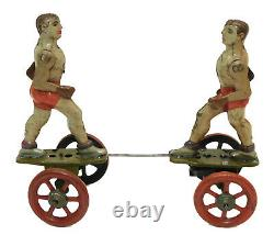 1930's EINFALT BOXERS TIN WIND UP TOY GERMANY LITHO PRE TECHNOFIX ANTIQUE