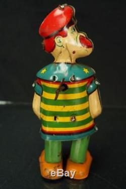 1930's J. Chein Baranacle Bill The Sailor Walking Tin Wind Up Toy Vintage