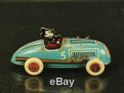 1930's Linstrom Walt Disney Mickey Mouse Tin Wind Up #5 Race Car Vintage Toy