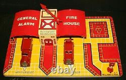 1930's Marx, One General Alarm Fire House Tin Toy, Complete Works, Original Box