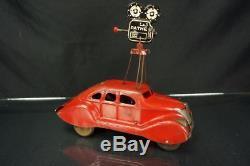 1930's Marx Pathe News Mystery Car Tin Wind Up Vintage Sedan Works Original