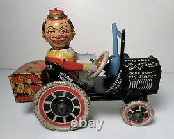 1930's Marx Tin Litho Windup Joy Rider Eccentric Crazy Car Mechanical Toy
