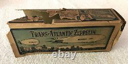 1930's Orig MARX Tin Litho 11 TRANS-ATLANTIC Flying ZEPPELIN WORKS GREAT WithBox
