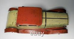 1930's TIN LITHO TOY CAR WELLS WIND UP VINTAGE COUPE TINPLATE