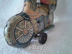 1930's Vintage Marx Working Tin Litho Wind-up Motorcycle Cop Soldier on & off