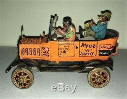 1930s AMOS N' ANDY Marx Tin Windup Fresh Air Taxi withKey Litho Toy