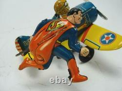 1930s MARX TIN WIND UP SUPERMAN ROLLOVER PLANE AIRPLANE LITHO TOY ORIGINAL COMIC