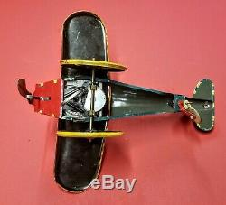 1930s Marx Popeye the Pilot Airplane Wind-up Earlier Version Working