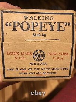 1930s VINTAGE TIN WIND UP MARX WALKING POPEYE WITH PARROT CAGES Original Box