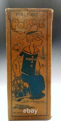 1935 Marx Tin Wind-Up 8.5 in. WALKING POPEYE WALKER w. PARROT CAGES in ORIG. BOX