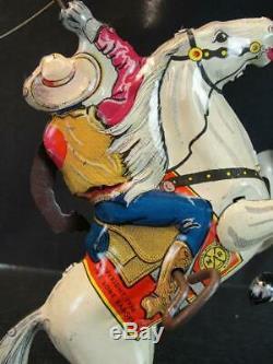 1938 Louis Marx Tin Wind Up Hi-yo Silver Roping Lone Ranger On Horse Vintage Toy