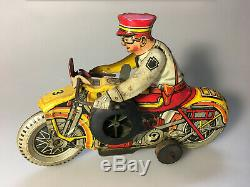 1938 Marx Tin Toy Wind-up Police Motorcycle siren, Works Great