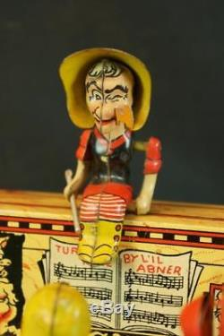 1940's Unique Art Tin Wind Up LIL Abner Band Comic Character Original Vintage