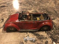 1940's Vintage CKO VOLKSWAGEN PORSCHE U. S. Zone Germany Windup Tin Toy Car