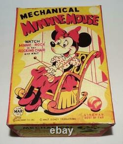 1950'sDISNEYKNITTINGMINNIE MOUSE IN ROCKING CHAIRLITHOGRAPHED TIN TOY+BOX SET