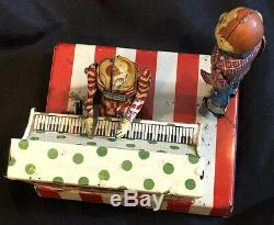 1950's Marx Linemar HOWDY DOODY with Clarabell Piano Band Tin Windup Toy litho TV