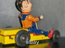 1950's US Made Nylint Howdy Doody Pumpmobile Tin Wind Up Go Kart Toy With Orig Box