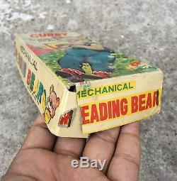 1950's VINTAGE CUBBY READING BEAR WIND UP TIN TOY-WORKING IN ORIGINAL BOX, JAPAN