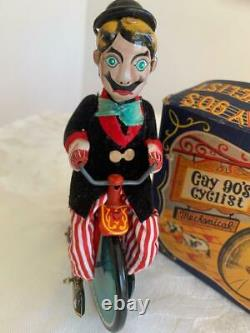 1950's Vintage Wind Up Mechanical With Bell Tin Toy Gay 90's Cyclist In Box