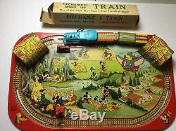 1950s Orig. Walt Disney Mechanical Train Set with2 Boxes Vintage Tin Litho Wind-Up