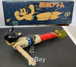1960's Asakusa Toy Astro Boy tin wind-up flyer vintage Atom Tezuka Osamu litho