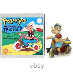 1960s POPEYE TRICYCLE Wind Up Toy Trike by MARX TOYS Rare
