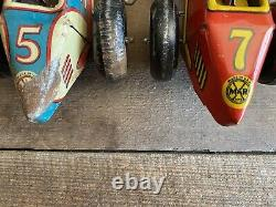 2 NICE 1940'S MARX TIN LITHO WIND UP #5 & #7 MIDGET RACE CARS with DRIVER