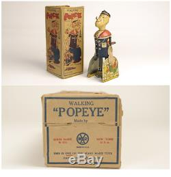 30s WALKING POPEYE Vintage Wind Up Tin Toy BOX RARE MAR TOYS USA from JAPAN F/S