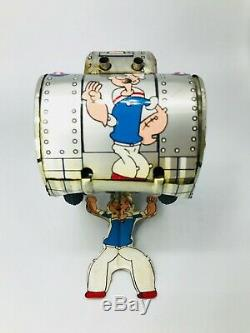 50s Linemar Popeye Turnover Tank Vintage Tin Wind up Toy Japan