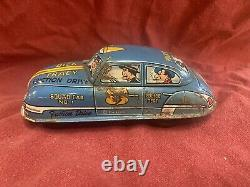 #8 Vintage 1940's Marx Tin Litho Wind Up Dick Tracy Squad Car 1 Friction Drive