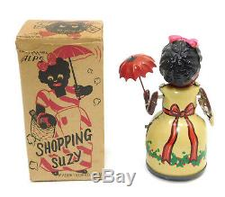 Alps Rare Shopping Suzy Black Tin Wind Up Toy In Box Occupied Japan 1 Of 2 Known
