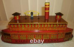 Antique 14in Tin Litho Windup Walbert Ferry Boat withOrig Box Instructions EXCELLT